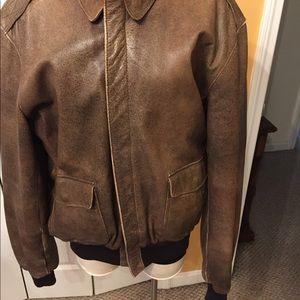 Men L L Bean goatskin flight jacket 44 long brown